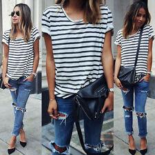 Fashion Women Summer Short Sleeve Cotton Loose Stripe Casual Top Blouse T Shirt