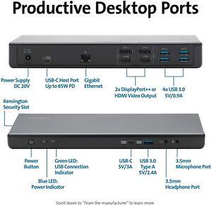 Kensington SD4750P USB Type C & 3.0 Dual 4k Docking Station