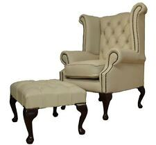 Chesterfield Queen Anne High Back Wing Chair Cream Leather + Footstool