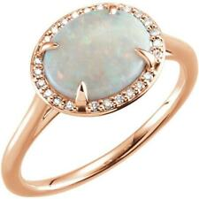 14k Rose Gold White Opal and Diamond Halo Ring Size 7