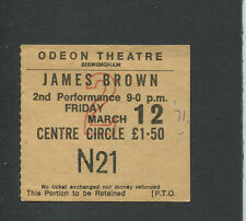 Original 1971 James Brown Concert Ticket Stub Birmingham UK Hot Pants