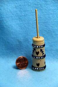 Dollhouse Miniature Wood Butter Churn with Stencil Design IM65406