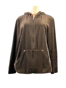 Style & Co. Sport Women's Hooded Velour Jacket Brown W Rhinestones Sz L RV100548