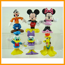 """6 pcs Mickey Minnie Mouse Clubhouse Donald Duck 2.5"""" Cake Toppers Figures +CHARM"""