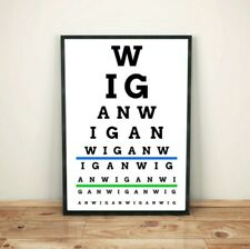 Wigan Eye Test Print Poster, (Wigan Athletic, Wigan Warriors colours available)