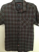 DC Shoes Mens Button Short Sleeve Shirt Checked Size Medium Orange Black