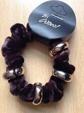 A Brown Velvet and gold ring mini hair scrunchie Gable