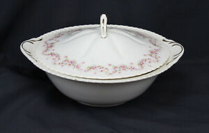 Vtg Harker Bridal Rose Bowl With Lid Royal Gadroon Serving Vegetable Handle Rare