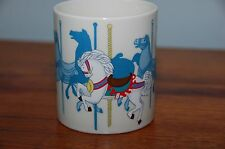 Otagiri Carousel Horses Coffee Mug Cup Bright Color Textured Image on Cream