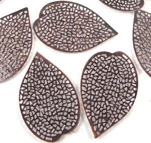 20 Antiqued Copper Filigree Leaf Focal Pendant 37x25mm