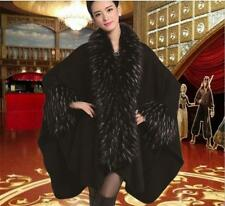 FAUX fur & cashmere poncho /cape/ scarf/ STOLE /shawl /shrug  big size collar