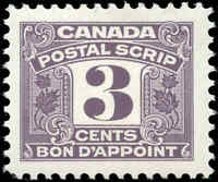 Canada Mint H 1967 F-VF Scott #FPS43 Third Issue Postal Scrip 3c Stamp