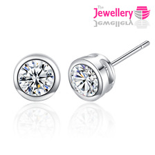925 Sterling Silver Stud Enclosed Round Crystal Earrings Jewellery Womens Ladies