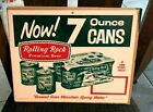 VINTAGE ROLLING ROCK BEER LATROBE BREWING CARDBOARD SIGN NOW 7 OUNCE CANS PA