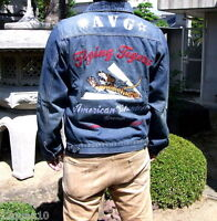 Mens Jeans Jacket Denim Coat Limited Edition Embroidered Flying Tigers Outerwear