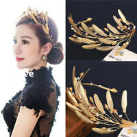 Baroque Vintage Gold Feathers Tiaras Headdress Wedding Bridal Crown Headband