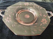 Vintage Pink Depression Glass Serving Platter w/ Handles Cut Flower Design