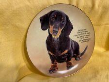 Danbury Mint Dachshund Dog Collector Plate - Paw Prints on My Heart