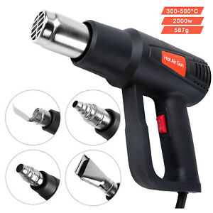 Upgraded Heat Gun Hot Air Dual Temperature + 4 Nozzles Power Tool 2000W Heatgun