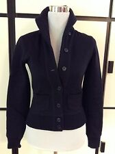 Ralph Lauren Navy Blue Sweater Varsity Jacket Peacoat Wool Tailored Warm Sz XS