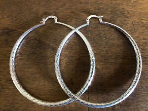 Large Sterling Silver Hoop Earrings Stamped Feather Detail