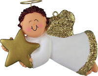 Angel with Star Male Brown Personalized Christmas Tree Ornament