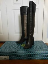 NEW Tory Burch $558 Bowie Over-The-Knee Seamed Panels Leather Boots, Size 6
