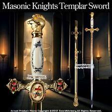 "Masonic Knights Templar Ceremonial Sword Gold Fittings Red Cross Guard 29"" Blade"