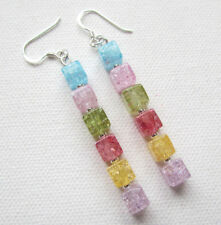 Long Chakra Crackle Quartz Gemstone 925 Sterling Silver Drop Earrings Jellybean