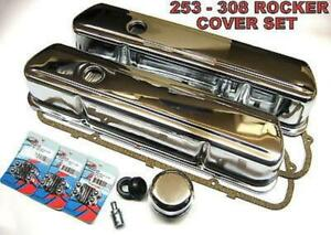 Holden 253-308 V8 tall chrome rocker covers with PCV gaskets, bolts etc.