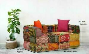Bohemian Patchwork Indian Floor Sofa Modular Ethnic Sofa Multicolored Ottomans