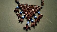 Brown Wood Bead Necklace with Glass Beads