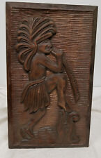 Vintage Carved Hardwood Indian Ethnographic Tribal Wall Panel Plaque Wood