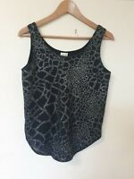 True Vintage Topshop Glitter Front Relaxed Fit Vest Top Size 10
