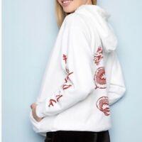 EUC Brandy Melville White Hoodie Hong Kong Top One Size