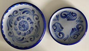 Set of 2 Plates Hand-blued Salt-glazed Stoneware Gray Blue EUC