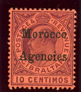 Morocco Agencies 1905 KEVII 10c dull purple/red (O) MLH. SG 25. Sc 28.