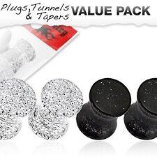 Tornillo de acero doble Flare Triple Corazón Oreja Túnel Plug 8mm 20mm 2 Colores