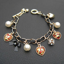 Betsey Johnson Leopard Heart Gold Pearl Crystal Bead Chain Toggle Charm Bracelet