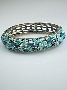 Multi-Color Blue and Turquoise Rhinestone Flower Bracelet