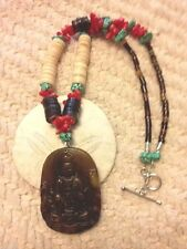 Zetroc Dezigns Chinese Jade Guan Yin with turquoise, coral & shell heshei beads