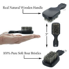 "100% PURE Soft Boar Bristles Mini Club Hair Brush 5"" Portable Beard Mustache"