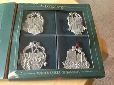 New Longaberger PewTer Basket Ornaments, set of 4. In box, but box shows wear.