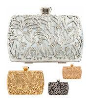 Sexy Ladies Clutch Bag Metallic Detail Diamante Cage Evening Bridal Floral Box