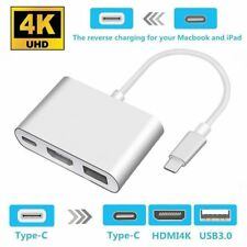 Type C to USB-C 4K HDMI USB 3.0 Multi Port Hub Adapter Cable For Macbook Pro