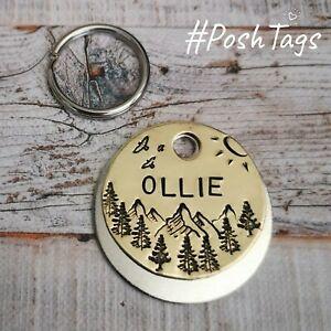 Sunshine mountains forest made handmade stamped pet dog cat tags ID PoshTags