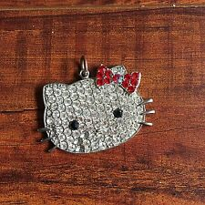 HELLO KITTY SILVER RED RHINESTONE NECKLACE PENDANT