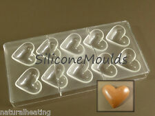 NEW 10 cell BIG HEARTS Professional POLYCARBONATE Chocolate Mould Mold Candy Pan
