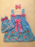 New Aqua Blue Ariel Mermaid Toddler/Girls (2T-7/8) Dress & Doll Dress, Bow