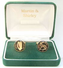 Threepence coins in Black & Gold 1950 Irish Cufflinks made from old Ireland
